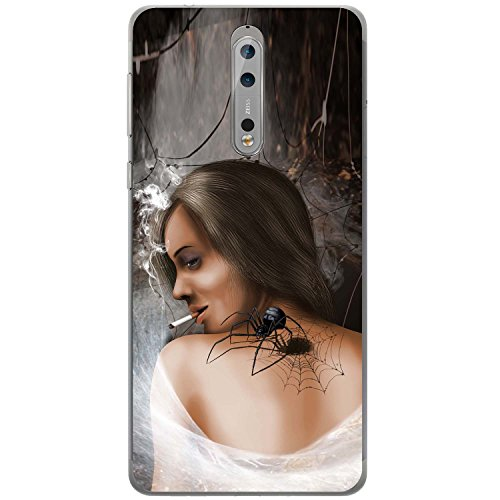 e Frau Hartschalenhülle Telefonhülle zum Aufstecken für Nokia 8 (Schwarze Witwe-frau)
