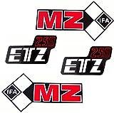 Set 4 Aufkleber Klebefolie MZ - ETZ 250 - Tank und Seitendeckel Rechts Links
