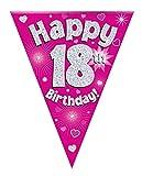 Islander Fashions Erwachsene Kinder Party Bunting alles Gute zum Geburtstag holographische Fahnen Dekoration Zubeh�r Pink 11 Fahnen 3.9m 18. Geburtstag