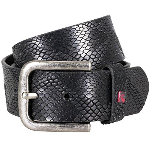 Pierre Cardin Ledergürtel Herren/Gürtel Herren, Vollrind-Ledergürtel mit Prägung, schwarz, Größe/Size:90, Farbe/Color:schwarz (Schwarze Schlangen)