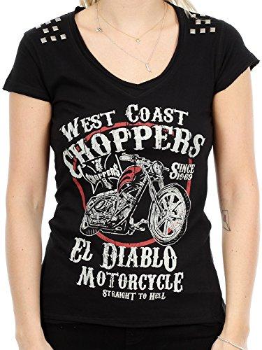 T-Shirt Donna West Coast Choppers El Diablo Studs Nero (Xl , Nero)