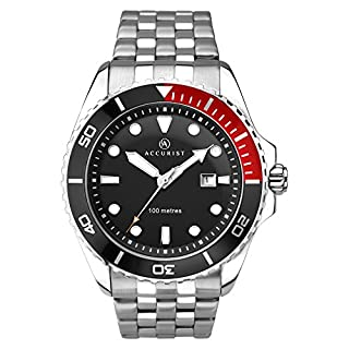 Accurist Men's Quartz Watch with Black/Red Quarter Dial Analogue Display and Silver Stainless Steel Bracelet 7200