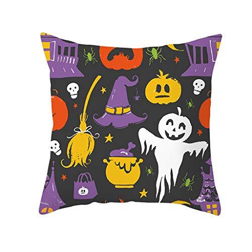 Lazzboy Dekokissenbezug Halloween Pumpkin Dekorative Sofakissenbezug Kissenbezug Kissenhülle(N) (Indische Kostüm Beutel)