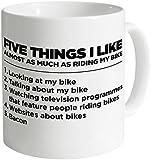 "Acen ""Five Things I Like Bike"" Ceramic Mug, White, 11 oz"