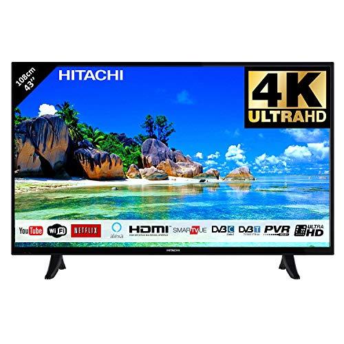 Hitachi Téléviseur LED 43' 107,9cm 4K Ultra HD avec Alexa/Smart TV: Netflix, Youtube, Prime/WiFi - Ethernet / 2 HDMI / 1 USB