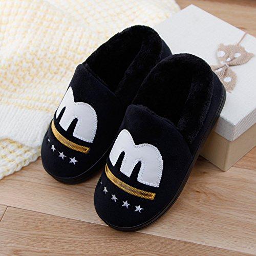DogHaccd pantofole,Un paio di spessore caldo inverno soggiorno home il cotone pantofole pacchetto femmina con pantofole maschio base antiscivolo morbida Nero1
