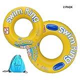 Totoose Schwimmring Double Stücke Geeignet für Kinder ab 5 Jahre 70CM + 90CM Aufblasartikel Schwimmreifen mit Griff aus Hochwertige PVC