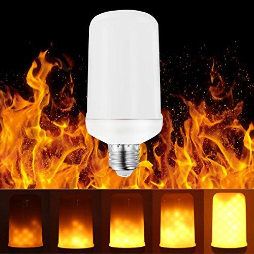 feuereffekt lampe BOGAO E27 LED-Flamme Effekt Fire Glühlampen, Creative Leuchten mit flackerndem Emulation, Vintage Atmosphäre Deko, Simuliert Gas Hurricane Laterne, warm weiß, 5 Watt E27,1 PCS