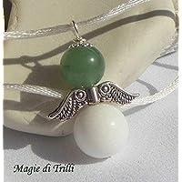Magie di Trilli: Collana ciondolo artigianale angelo custode con pietra dura: agata bianca e avventurina in argento tibetano. Regalo per Pasqua - Comunione - Cresima - Natale