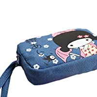 Arpoador New Cute Japanese Girl Print Canvas Ph1 Bag Double Zipper Purse Coin Bag