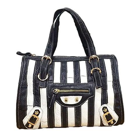 WANGWO High Quality Womens Genuine Cowhide Leather Handbag Color Matching Stripes Bag