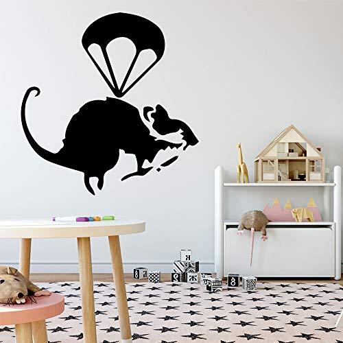 Kreative Banksy Mouse Wandkunst Aufkleber Wandaufkleber Für Baby Zimmer Dekoration Wandbilder Wandsticker Rot 30 * 30 CM (Zombie Baby Dekoration)