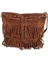 THG alta de Qualty Oval Fringe bolso de hombro de los bolsos con flecos bolsa de Gril Mujeres Office Lady (de caf¨¦)