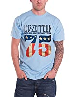 Led Zeppelin North American Tour 75 USA Flag Official Mens New Blue T Shirt