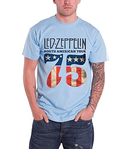 Led Zeppelin North American Tour 75 USA Flag Oficial de los hombres nuevo Azul T