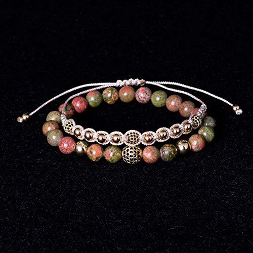 7e8e3424b6a8 wl pulsera cadena de cuerda elástica pulsera de piedra natural pulseras de  bola de macramé trenzado para hombres mujeres 2pcs / set, j21cm
