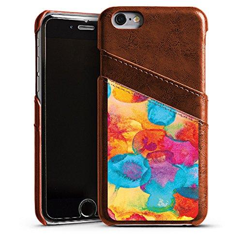 Apple iPhone 5s Housse Étui Protection Coque Peinture à l'eau Fleurs Fleurs Étui en cuir marron