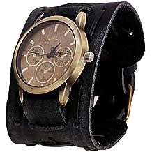 Oyedens, stile retrò, colore: marrone, stile Punk/Rock, larghezza Bracciale a manetta da uomo, in pelle, con orologio, colore: nero
