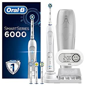 Oral-B Smart Series 6000 CrossAction Electric Rechargeable Toothbrush with Bluetooth Connectivity and Smart Series Powered by Braun (Packaging May Vary) - Ships with 2 pin UK plug