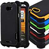 Black Case Cover for HTC One X Mobile Phone, Tough Shock proof Triple Defender Hard Case Cases Heavy Duty Arour Cover Covers Rubber Back Skin Pouch Wallet Holster with Free Screen Protector
