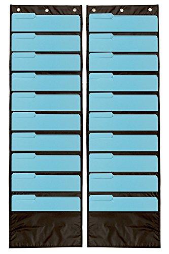 2er Pack Premium Wandtattoo Aufbewahrung Pocket Charts/Organisatoren (schwarz)-Die perfekte Pocket Diagramm für Klassenzimmer, Schule, Büro Oder Zuhause (Kalender Chart Pocket)