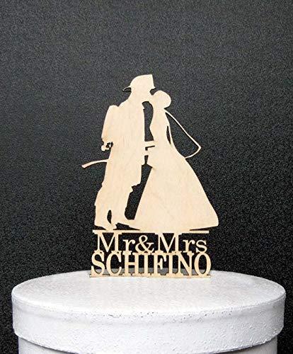 stikale Hochzeitstorte aus Holz Feuerwehr- und Braut Silhouette mit Mr Mrs Name ()
