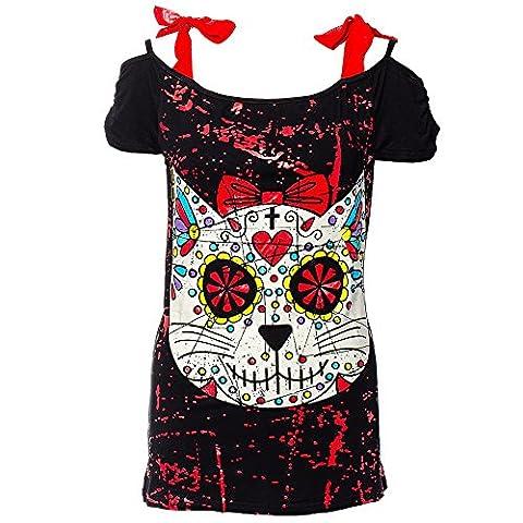 Banned Kitty Skull Top (Black) - 12 UK