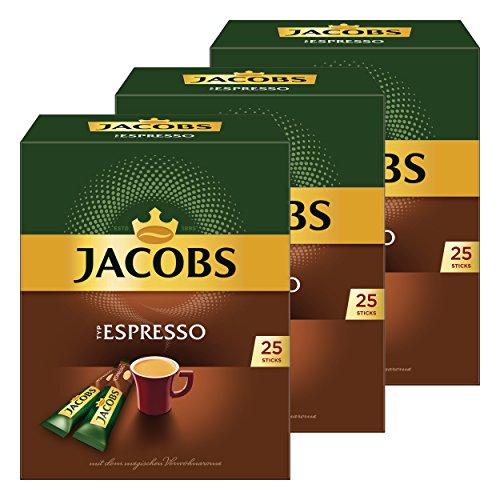Jacobs Typ Espresso, 3er Pack, löslicher Kaffee, Instantkaffee, Instant Kaffee, je 25 Einzelportionen