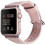 Apple Watch Band 38mm, XGUO iWatch Bands Bracelet de remplacement en cuir véritable avec boucle fermée en métal fermé pour Apple Watch Série 3 et 2 et 1 (rose)
