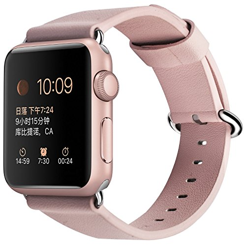 Apple Watch Band 38 mm, correa de repuesto XGUO iWatch Bands Premium de cuero genuino con cierre de hebilla metálica segura para Apple Watch Series 3 Series 2 Series1 (rosa)
