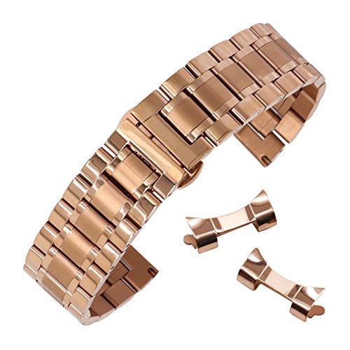 16mm austauschbar gebogene Ende Uhrarmbändern gerade Ende Uhrenarmbänder aus massivem Edelstahl in Roségold (Austauschbare Uhrenarmbänder)