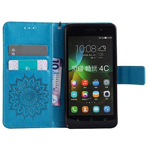 Für Huawei Hornor 4c Fall, Prägen Sonnenblume Magnetische Muster Premium Soft PU Leder Brieftasche Stand Case Cover mit Lanyard & Halter & Card Slots ( Color : Gray ) Blue