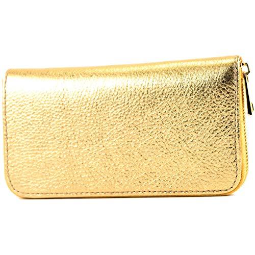 modamoda de - P02 - ital. Damen Portemonnaie Echtleder lang, Farbe:P02 Gold