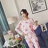 HAOLIEQUAN Frühling Und Herbst Damen Pyjamas 2-Teiliges Set Weibliche Langärmelige Lose Hauptlieferung Kleidung Frauen Süße Spitze Nachtwäsche Anzug, Fenbao, M