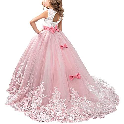 OBEEII Mädchen Ärmellos Stickerei Prinzessin Festzug Kleider Abschlussball Ballkleid 12-13 Jahre Rot Wassermelone (Prinzessin Braut Ein Rotes Kleid Kostüm)