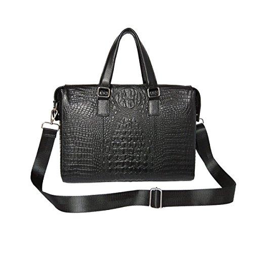 Yy.f Mann Tasche Handtasche Freizeittaschen Querschnitt Rindsleder Herren-Business-Umhängetasche Praktische Innen Black