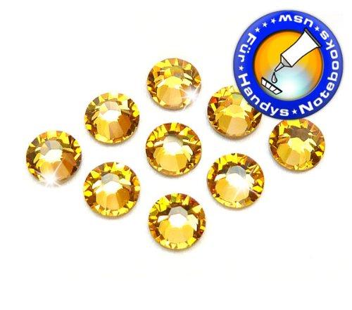 Swarovski 100 Stück Elements 2058 XILION - Kein Hotfix, Light Topaz, SS5 (Ø ca. 1,8 mm), Strass-Steine Zum Aufkleben