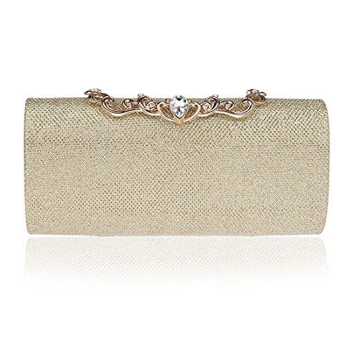 KAXIDY Damen Clutch Klassische Abendtasche Handtasche Gold