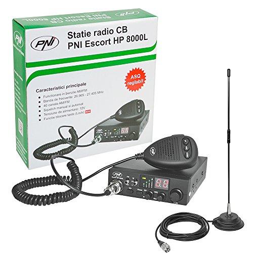 PNI CB Funkgerät KIT Escort HP 8000L ASQ + CB Antenne Extra 40 SWR 1.0, 44 cm Höhe, 4 m RG58 Kabel und magnetische Halterung enthalten Cb-antenne-kits