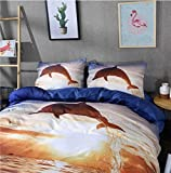 Lee Store Cute 3D Blau Delfin Bettwäsche Sets Twin, 100% Baumwolle Fadenzahl 400Bettbezug Sets Blau Twin 3Stück, 1* Bettbezug und 2* Kissen Home Dekoration Süße Tier Betten