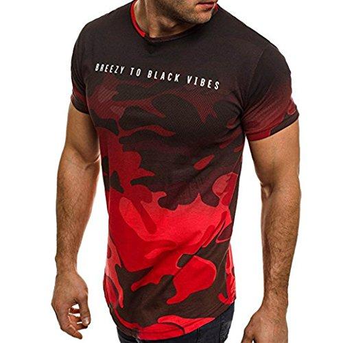 Shirts Herren, GJKK Mode Persönlichkeit Camouflage Herren Casual Schlank Kurzarmshirt Top Bluse Sommer Brief Gedruckt Kurzarm T-Shirt O-Ausschnitt Sommertop Sommershirt (T-Shirt Rot, L)