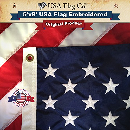 Flagge Material (American Flagge von USA Flagge CO. Made in uns, Eingestickte Sterne und Streifen, US-Größe 3X 5ft Flaggen, Material: Nylon, 5 by 8 Foot)