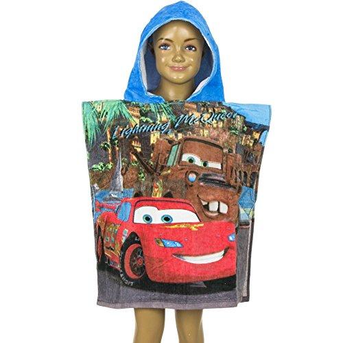 4776 Kinder Badeponcho Bademantel Disneys Cars McQueen Strandtuch Kapuzentuch (blau, ()
