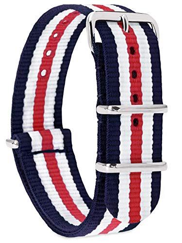 MOMENTO Damen Herren NATO Nylon Uhren-Armband Ersatz-Armband Uhren-Band mit Edelstahl-Schliesse in Silber und Nylon Uhr-Armband in Blau Weiss Rot 22mm (Blau, Armband Rot, Weiß,)