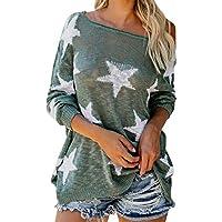 Yvelands Mujeres Camiseta de Manga Larga con Estampado de Estrellas O Cuello con Cordones Blusa Suelta Tops