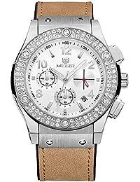 Megir Mujer Lujo Cronógrafo Esqueleto Dial de calendario de cuarzo relojes impermeables de piel de manos 24horas reloj de pulsera para mujer