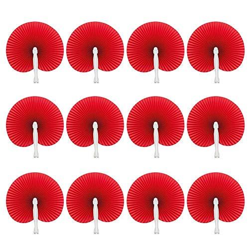 Ritapreaty White Circular Paper Fan, Faltbarer Fan Werbung Fan Group Fan Kleine runde Fan 12 Pack 5,7 x 0,7 Zoll -