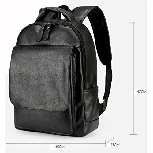 Rucksack Mode Schultertasche Rucksack PU Leder Reisetasche,Brown Black