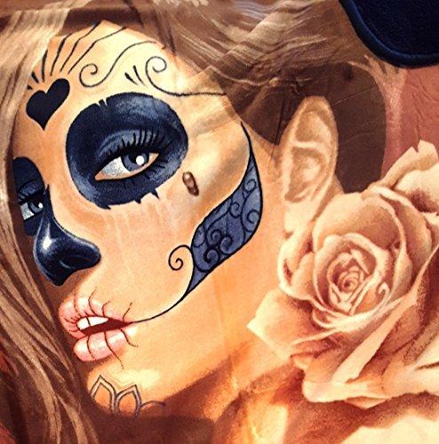 Mexikanischen Stil Sherpa Überwurf Decke Tattoo Muerta Rose Day of The Dead Plüsch 127x 152,4cm
