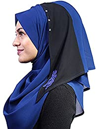 Modest Hijab Kuwaity Blumendesign marine-schwarz